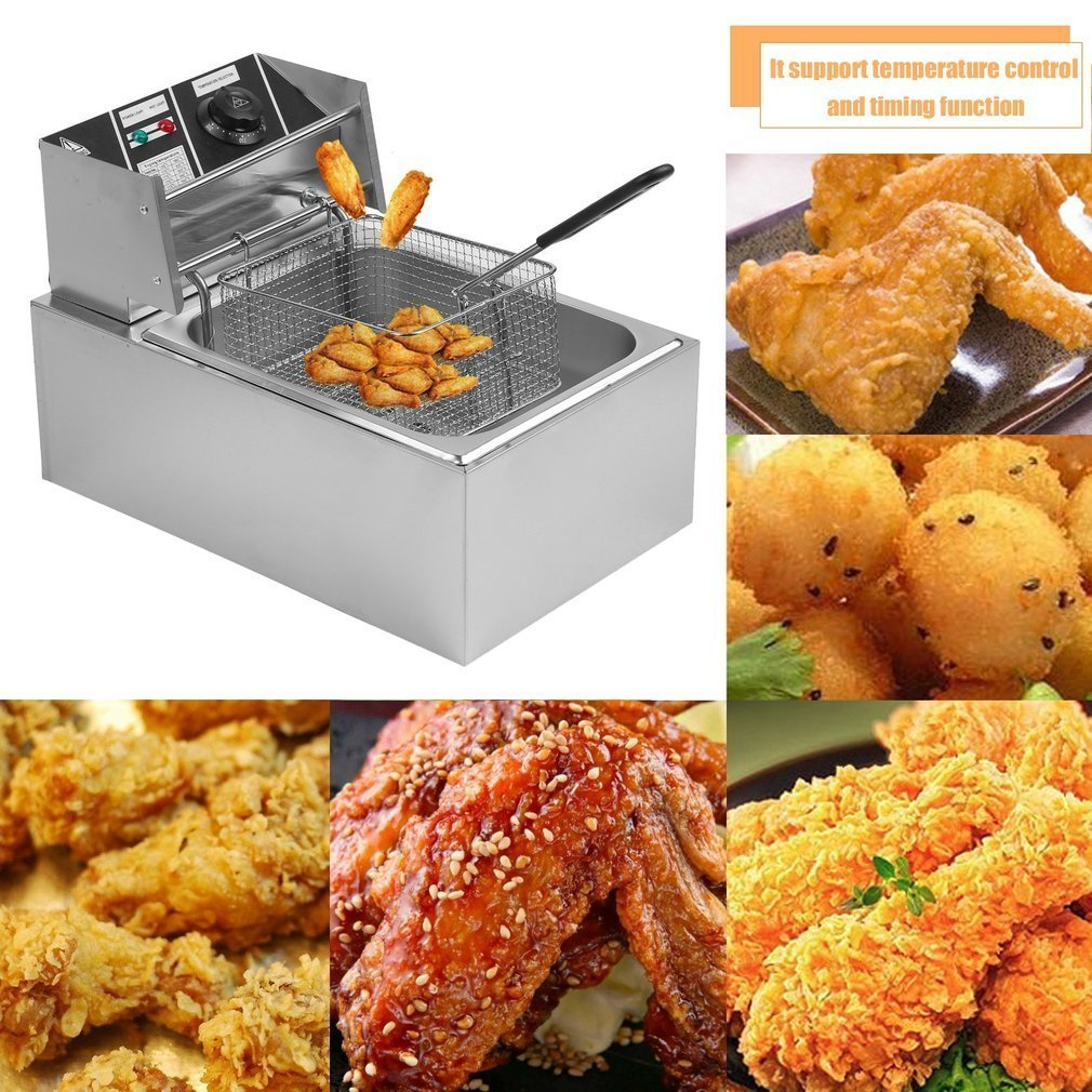 Belovedkai Electric Deep Fryer, 13L/26L Stainless Steel Commercial Electric Deep Fat Fryer Temperature Control Timing Fryer with Drain & Basket,Single Tank/Dual Tank (10L Single Basket) by Belovedkai (Image #2)