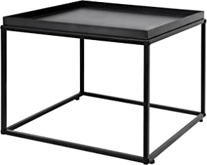 MyGift 24-inch Modern Matte Black Metal Square Tray Coffee End Table/Side Table/Nightstand