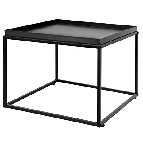 Awesome Mygift 24 Inch Modern Black Metal Square Tray Side Table Dailytribune Chair Design For Home Dailytribuneorg