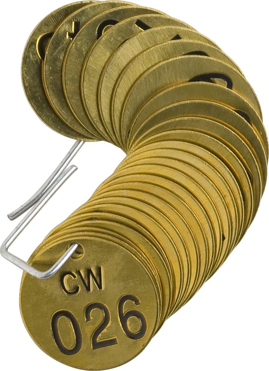 Brady 232571 1//2 Diameter Stamped Brass Valve Tags LegendCW LegendCW Numbers 026-050 25 per Package 25 per Package
