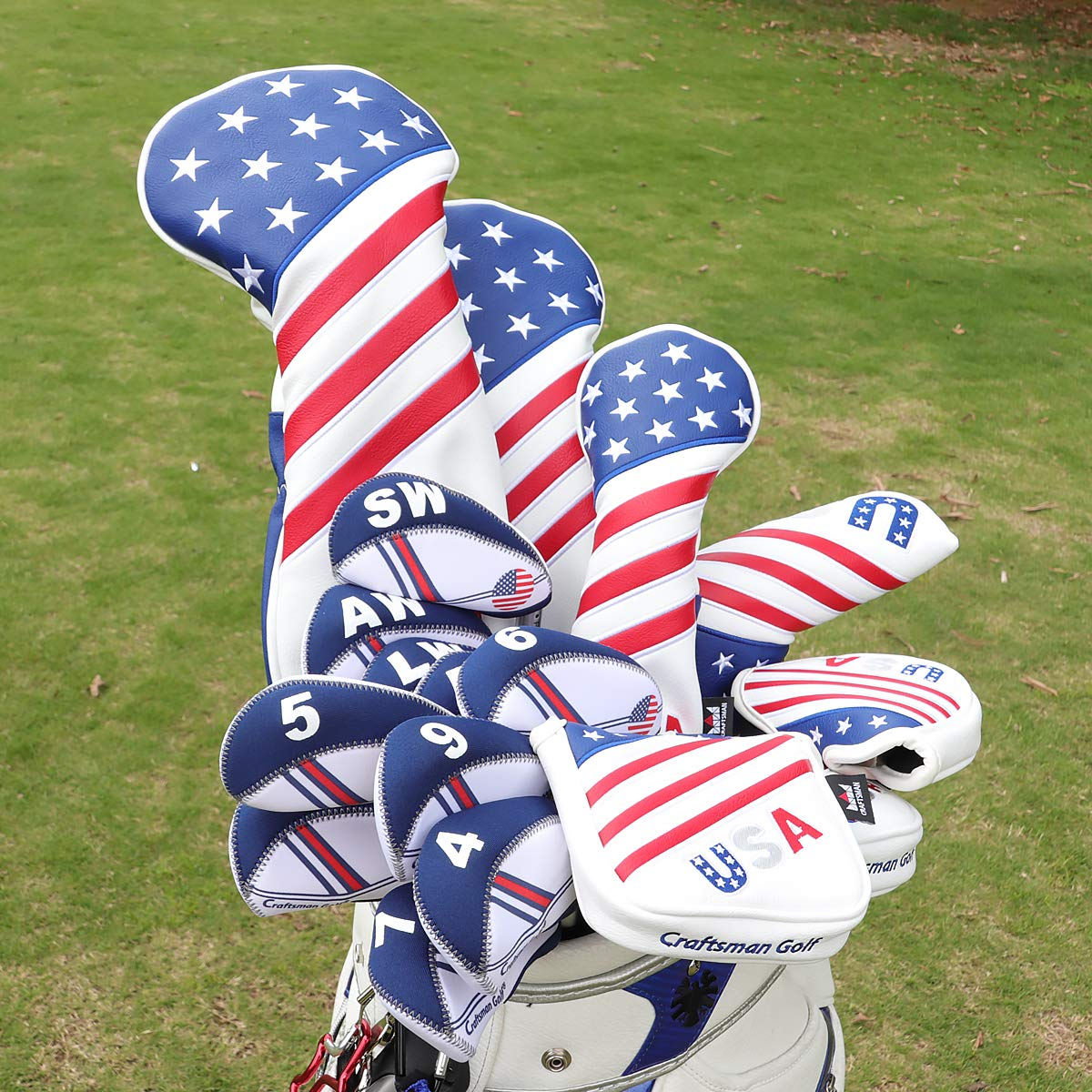 Craftsman Golf Stars and Stripes USA America Square Heel Shafted Mallet Putter Cover Headcover for Taylormade Golf 2017 Spider Tour Putter,Scotty ...