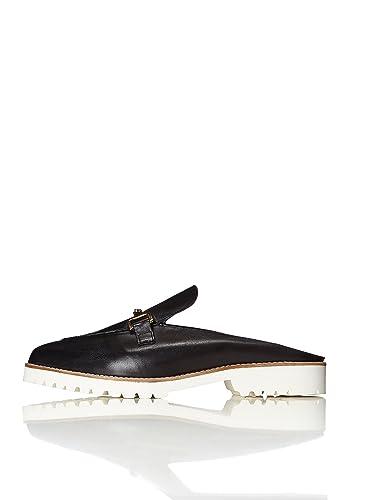 FIND Mules Damen mit Loafer-Design und Breiter Sohle, Schwarz (Black), 41 EU