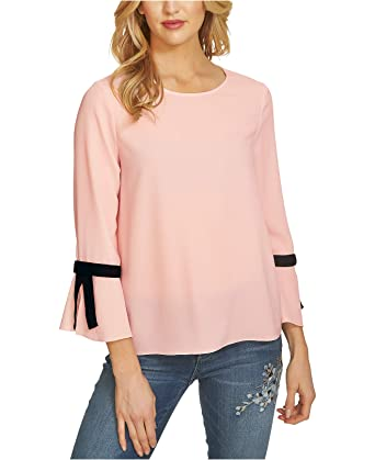 a8844e684d2 CeCe Women's 3/4 Tie Bell Sleeve Textured Blouse Light Floral Pink Blouse  at Amazon Women's Clothing store: