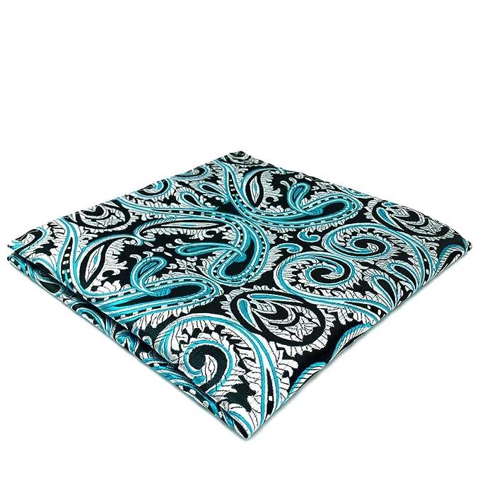 SHLAX/&WING New Mens Pocket Square Paisley Blue Designer Business Wedding 12.6 Large Size