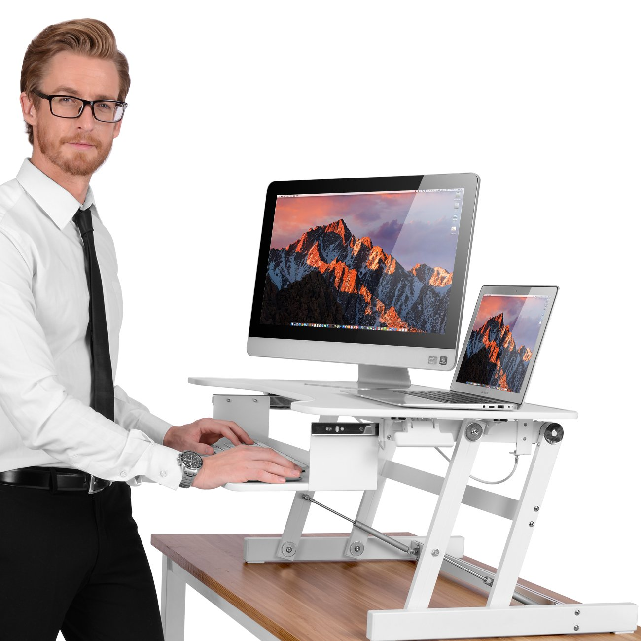 Smonet Standing Desk Converter , Height Adjustable Sit Stand Desk Riser , 32'' Computer Workstation Stand Up Desktop with Retractable Keyboard Tray ( Dual Monitor White )