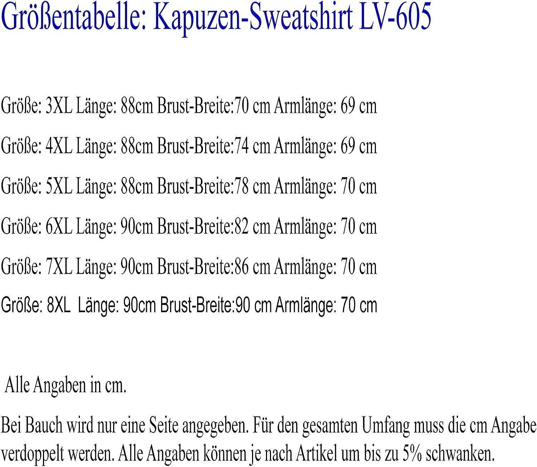 Lavecchia ÜBERGRÖßEN Herren Kapuzen-Sweatshirt 3XL 4XL 5XL 6XL 7XL 8XL LV-605 Schwarz