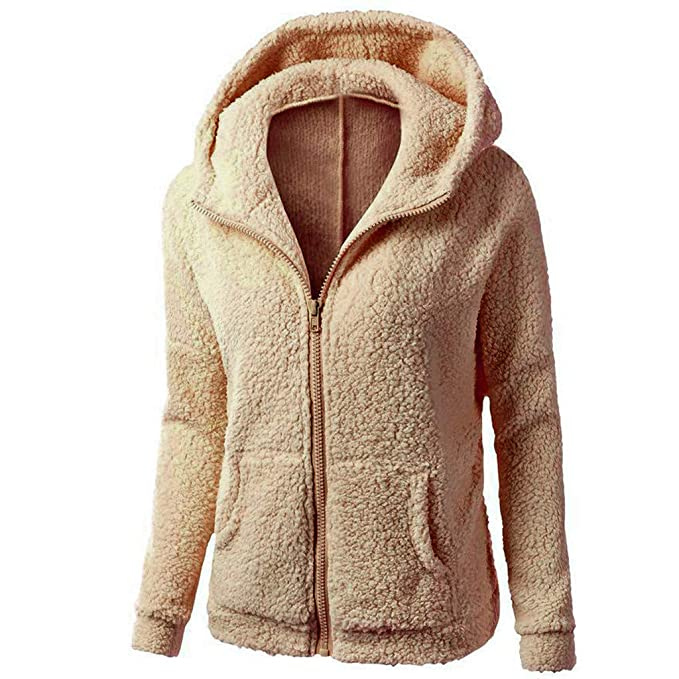 Amazon.com: AOJIAN Women Jacket Long Sleeve Outwear Hooded Zipper Pure Color Fuzzy Plus Size Sweater Coat: Clothing