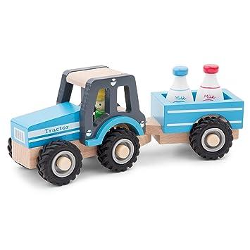Bauernhof New Classic Toys 11942 Traktor mit Anhänger und Milchkannen