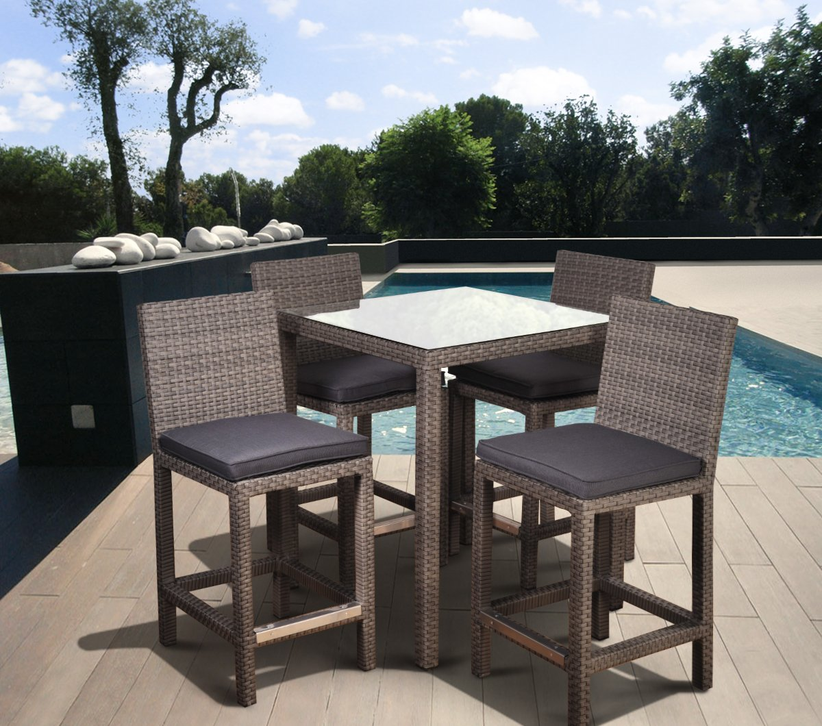 Amazon.com : Atlantic 5 Piece Monza Square Bar Set With Grey Cushions :  Outdoor And Patio Furniture Sets : Garden U0026 Outdoor