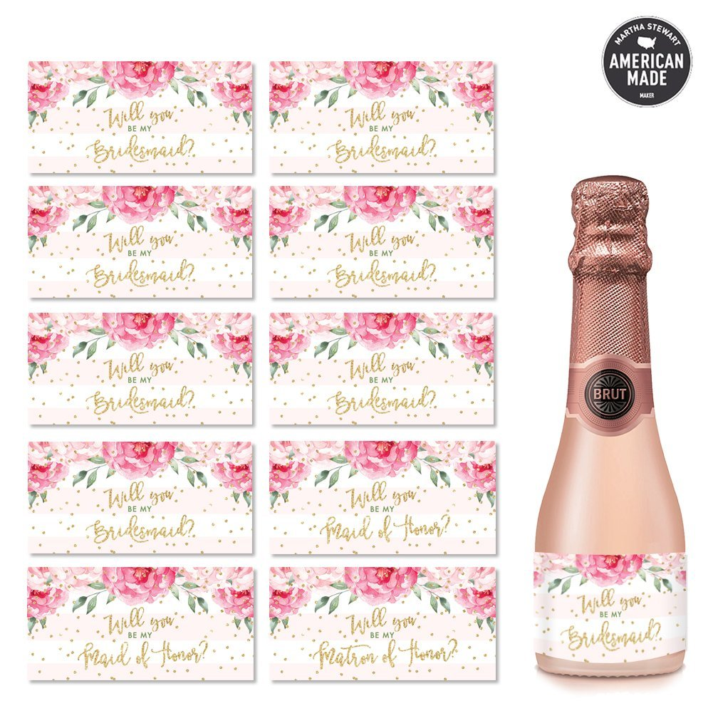 Will You Be My Bridesmaid? Set of 10 Wedding Party Proposal Labels for Mini Champagne Bottles Engagement 3.5 x 1.75 Gift Bag Stickers Bachelorette Hen Party Ask Fave Ladies Maid Matron of Honor
