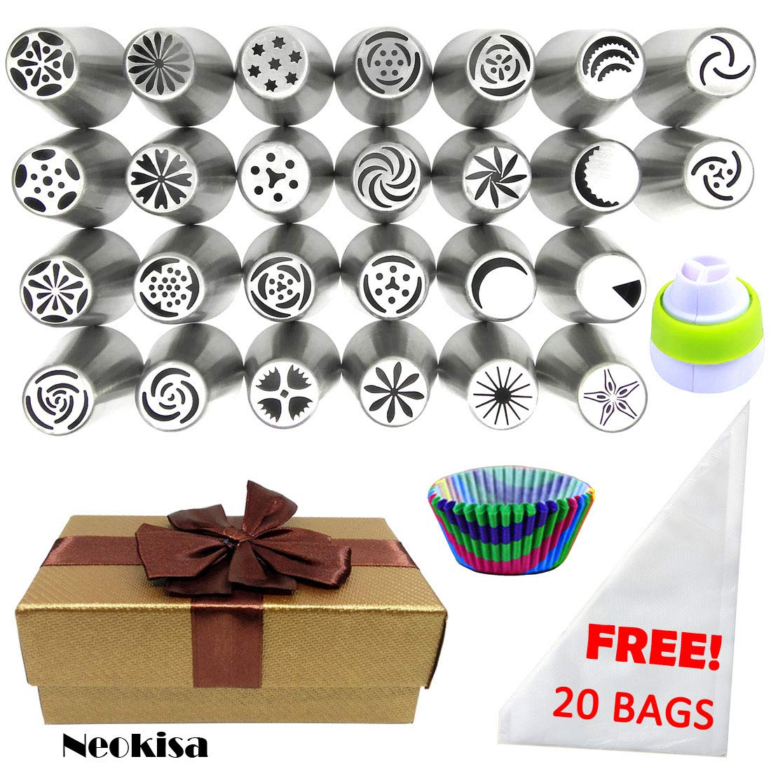 Neokisa 67 PCS Russian Piping Tips Set Gift-Wrapped Cupcake Molds Cake Decorating Tips Kit - 26 LARGE Russian Tips 20 Pastry Bags 1 Tri Color Coupler 10 Cupcake Liners - Cake Cupcake Icing Tools Tips