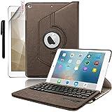 [Boriyuan] iPad mini4専用 Bluetoothキーボードカバー/キーボードケース iPad mini4保護ケース 360度回転式 ワイヤレスキーボード 良質PUレザーケース Bluetooth3.0搭載 キーボード分離可能 スタンド機能 保護フィルムとタッチペン付き (360ブラウン)