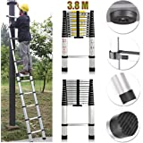 Extension Foldable Telescopic Style Climb Ladders - 3.8m 12.5FT High Quality Aluminum Straight Telescopic Ladder Extendable Steps 380cm x 48cm x 8.8cm