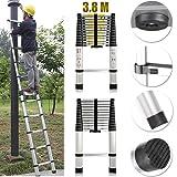 Extension Foldable Telescopic Style Climb Ladders - 3.8m 12.5FT High Quality Aluminum Straight Telescopic Ladder Extendable Steps 380cm x 48cm x 8.8cm