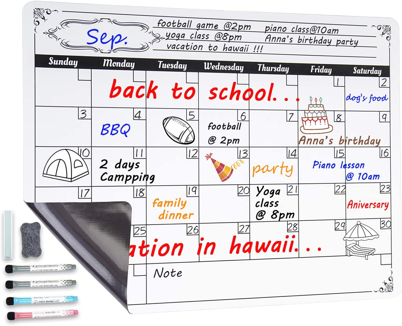 Magnetic Dry Erase Calendar for Fridge: with Stain Resistant Technology - 4 Fine Tip Markers and Large Eraser with Magnets- Monthly Whiteboard Wall Organizer: Refrigerator White Board