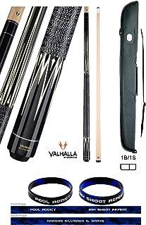 product image for Valhalla VA301 by Viking 2 Piece Pool Cue Stick Linen Wrap, Black 16 Point HD Transfers, High Impact Ferrule, 3 Nickel Silver Rings 18-21 oz. Plus Cue Case & Bracelet (Black VA301, 21)