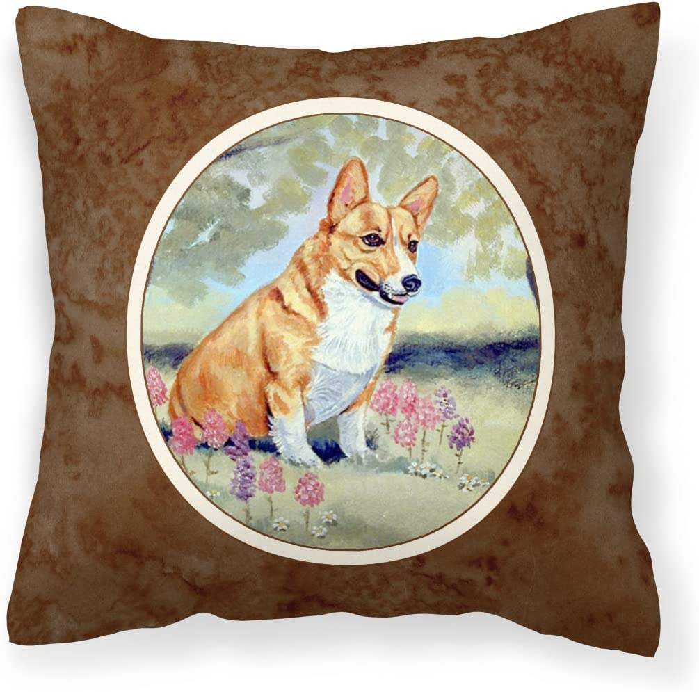 Caroline S Treasures 7054pw1414 Corgi Fabric Decorative Pillow 14hx14w Multicolor Garden Outdoor