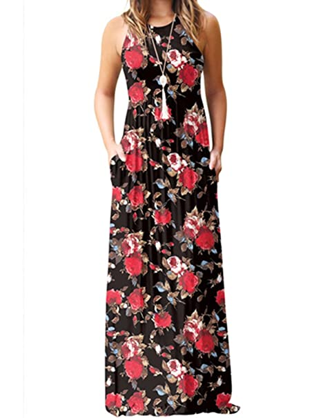 6cae602b1088 Lyheller Women Sleeveless Floral Printed Loose Maxi Dresses Casual Long  Dresses with Pockets (Small,