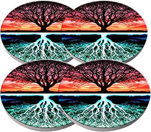 Beverage Coaster - Custom Fashion Personalized Exquisite Ceramic Coasters with Cork Liner,4 Pieces Sets (Tree of Life -A)