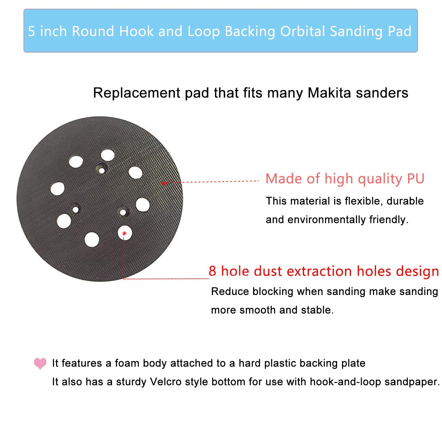 743081-8 Sanding Base and Pad for Makita Sander BO5030 BO5010 5 Inch 8 Hole Sander Hook and Loop Pad Replaces Makita 743051-7 Hitachi 324-209
