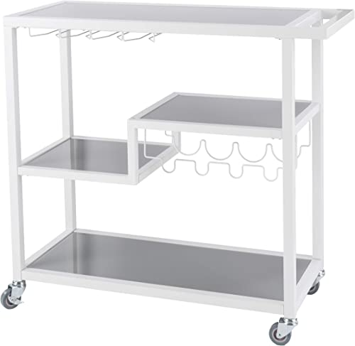 Holly Martin Zephs Bar Cart White – Stylish Bar Cart for Home – Utility Carts with Wheels