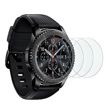 OMOTON Protector Pantalla para Samsung Galaxy Watch 46 mm/ Gear S3 Frontier/Classic, Cristal Templado 9H con 2.5D Samsung Gear S3/ Watch 46mm, 3 ...