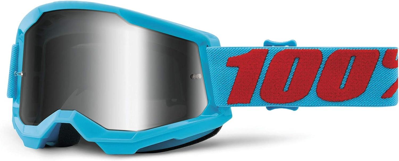 100% Strata 2 Motocross & Mountain Biking Goggles (Summit - Mirror Silver Lens) MX and Mountain Bike Racing Protective Eyewear