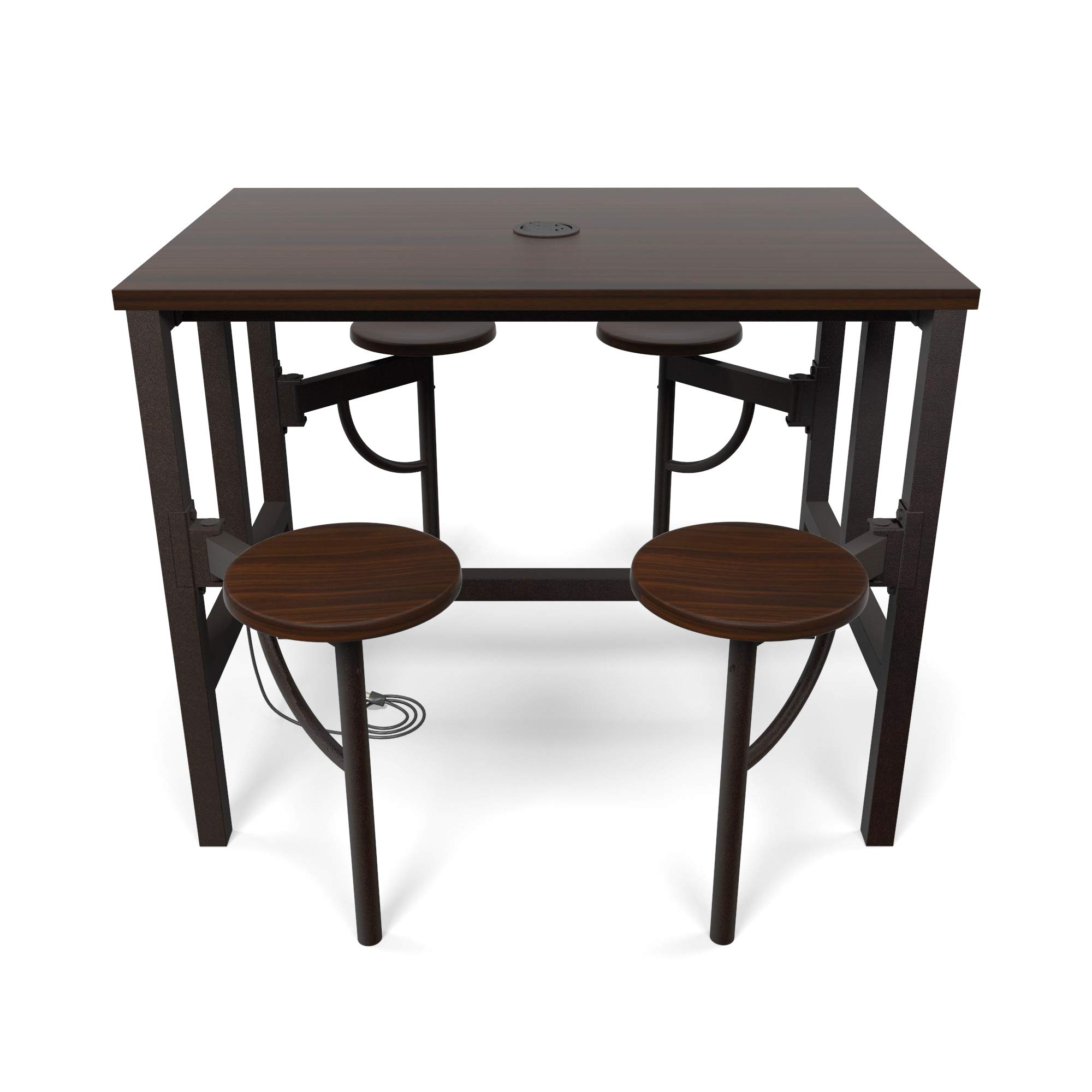 OFM 9004-WLT-WLT Model 9004 Endure Series Standing Height 4 Seat Table, 38'' Height, 31.25'' Width, 47.625'' Length, Walnut by OFM (Image #4)