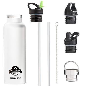OUTDOOR DEPT Botella Agua Acero Inoxidable Térmica Doble Pared con Aislamiento al Vacío 750 ml (Blanco)