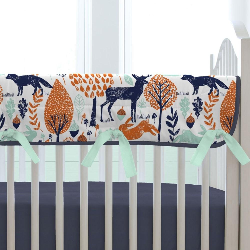Carousel Designs Navy and Orange Woodland Crib Rail Cover by Carousel Designs