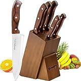 Emojoy Cuchillos Cocina, Juegos de Cuchillos de Acero Inoxidable, Incluye 6 Cuchillos de Cocina (Marrón)