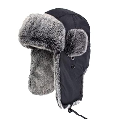 Winter Warm Proof Trapper Hat Ear Flaps Bomber Caps Unisex Faux Fur Aviator  Snow Hat Cycling Thicken Hats at Amazon Men s Clothing store  3ef354b3c7f