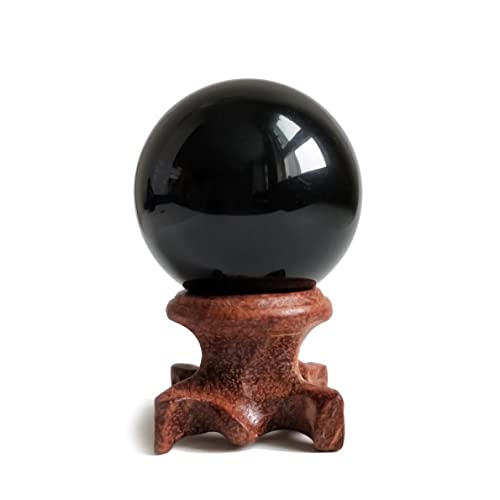"Black Obsidian Crystal Ball 40mm /1.6"" For Fengshui, Meditation, Crystal Healing, Divination, Home Decoration, Black Magic Crystal Sphere"