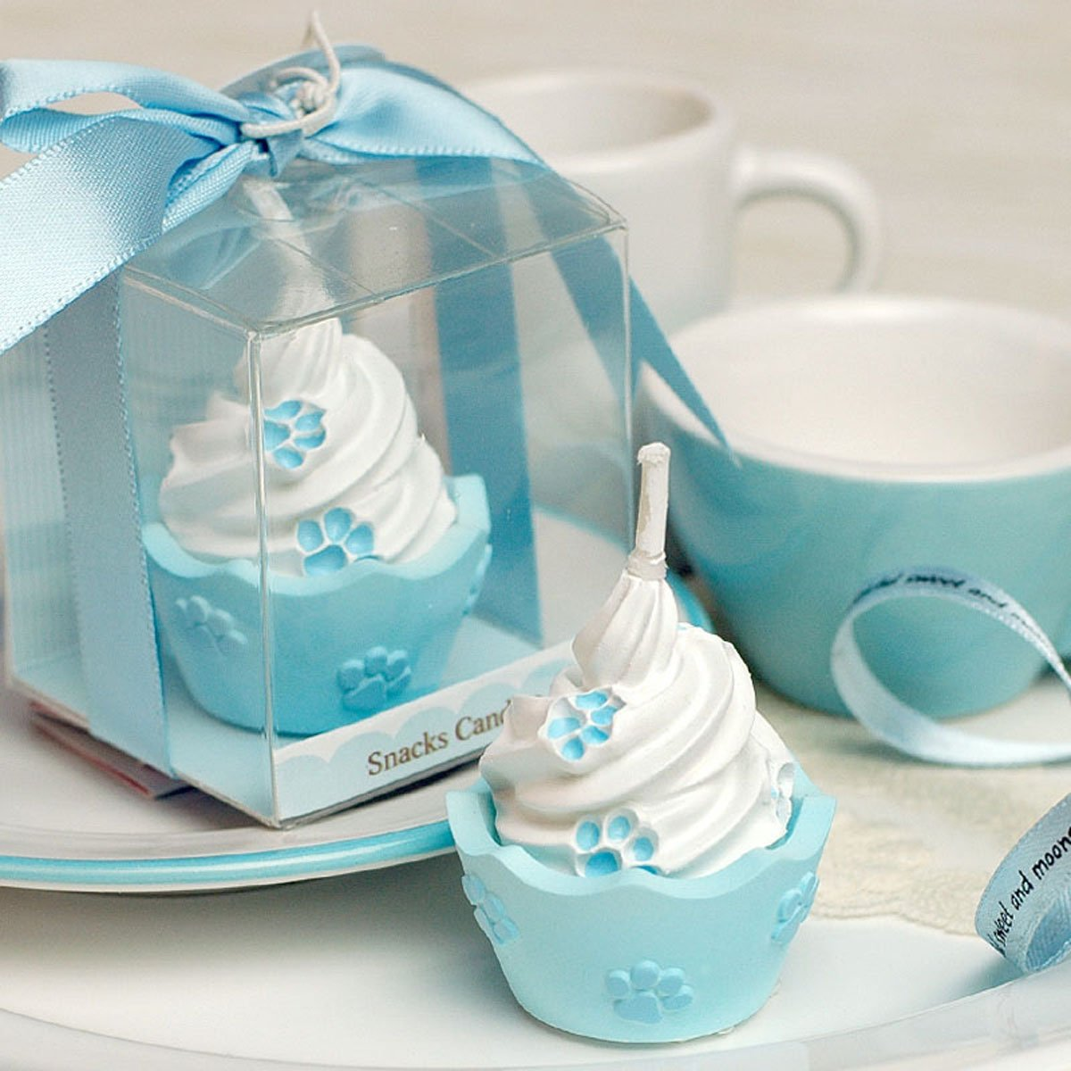 Cartoon Summer Ice Cream Charming Gifts Party Candles Smokeless Candles Birthday Candles for Baby Shower and Wedding Favor Keepsake Favor (5, Blue)