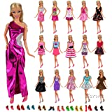 Barwa Lot 22 Items 12 PCS Fashion Dresses Outfits Clothes Summer Dress and 10 Pairs Shoes for Barbie Dolls