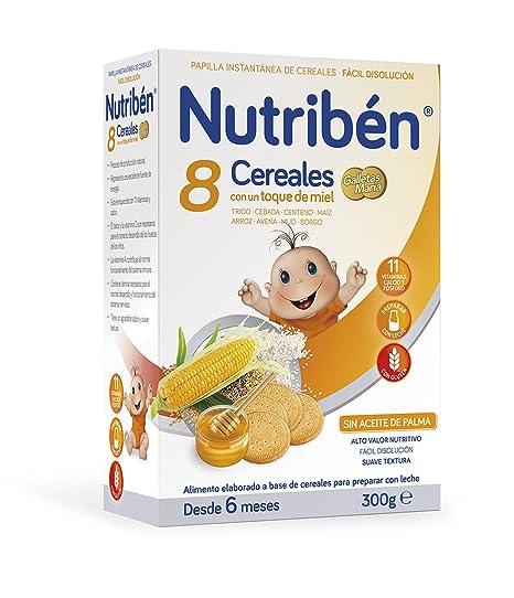 Nutribén Galletas Maria Papilla de 8 Cereales Miel - Paquete de 12 x 300 gr -