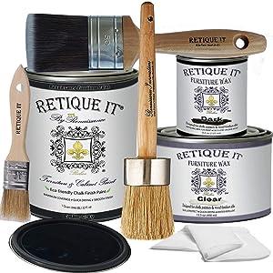 Retique It Chalk Furniture Paint by Renaissance Deluxe Starter Kit, Wax, 07 Gothic Grey, 32 Ounces