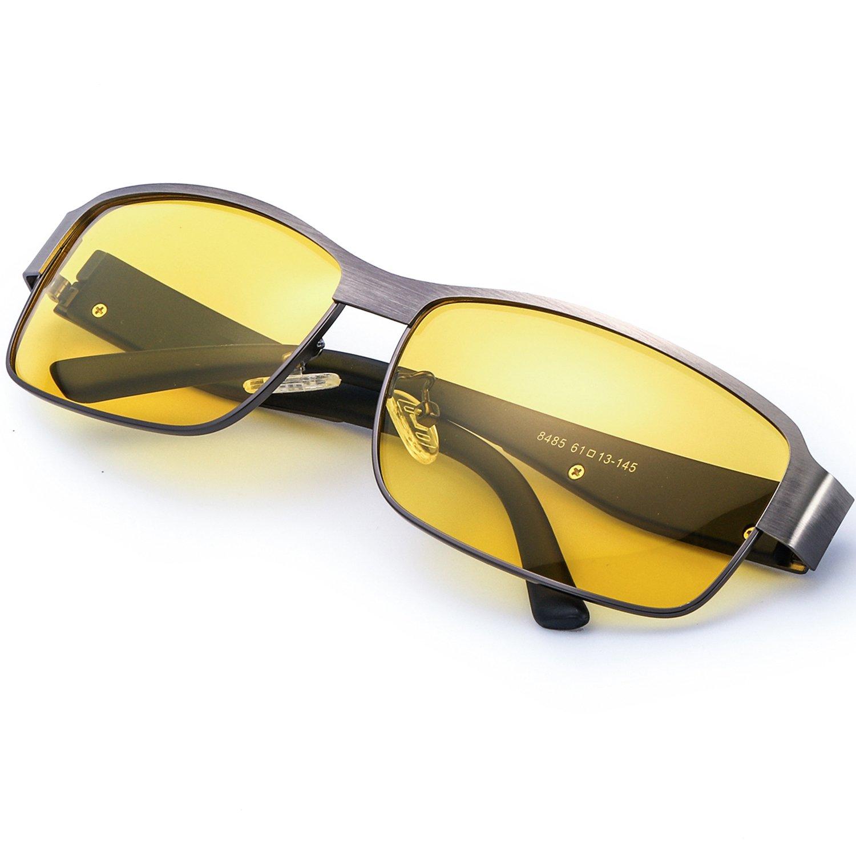 ELIVWR Gafas Conduccion Nocturna Amarilla Rectangulares Hombre Polarizadas Anti Reflectante Ultraligero Metal-100% de Protección Contra Los Rayos UVA/UVB Dañi