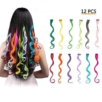Amazon.com : FESHFEN 12 Pcs 12 Colors Full Color Curly Wave Clip on ...