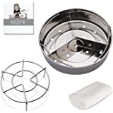 Aozita Steamer Basket Rack Set with Removeable Dividers for Instant Pot and other 5/6/8 qt Pressure Cooker with Streaming Recipe and Cleaning Cloth