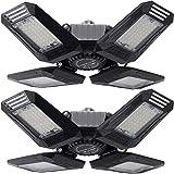 2-Pack Led Garage Lights,100W Garage Light, E26/E27 10000LM Deformable Four Leaf Garage Light Ceiling Led,Indoor use for Led