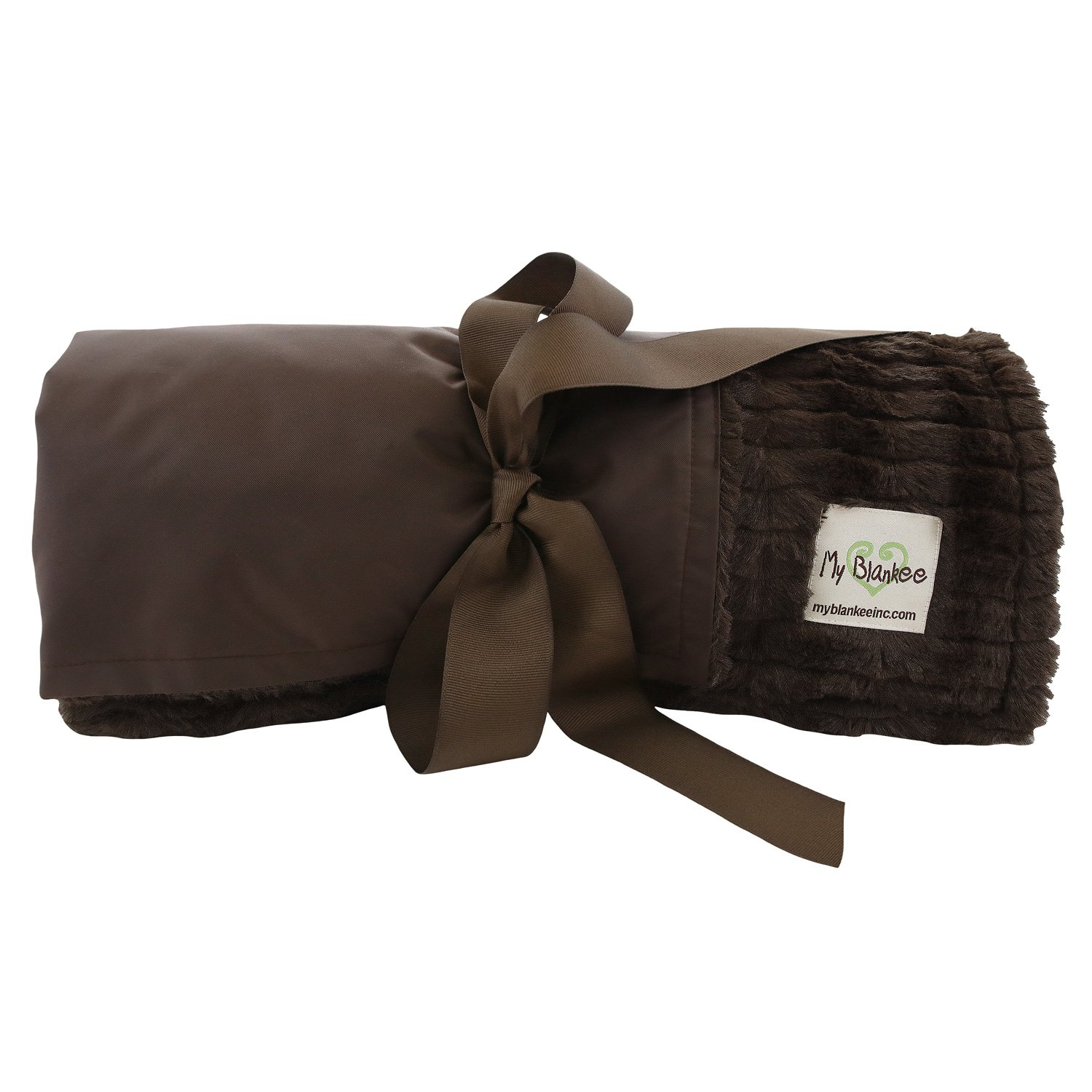 My Blankee Extra Large Picnic & Outdoor Blanket Warm and Soft Luxe Stipe with Waterproof Backing, Brown, 59'' X 85''