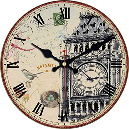 Mzdpp Big Ben Design Relojes Redondos Silent Home Cafe Oficina Bar Relojes Decorativos Art Wall Vintage