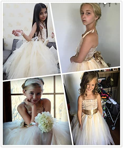 9021fde3a03 Amazon.com  FAYBOX Pageant Wedding Flower Girl Dress Crossed Back Bow  Feather Sash Fluffy  Clothing