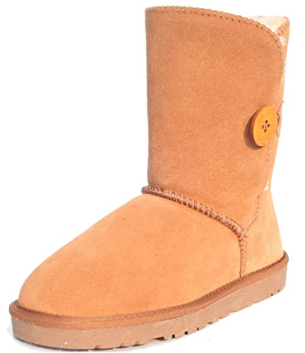 Women's Winter Leather Button Style Snow Ankle Boots