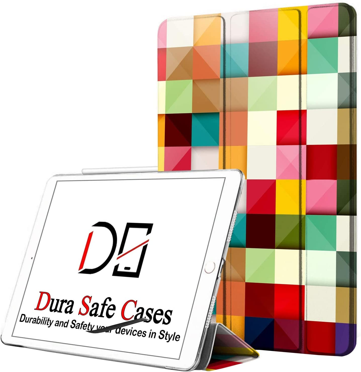 DuraSafe Cases For iPad PRO 12.9 - 3 Gen (Will Not Fit on PRO 12.9 2020) Ultra Slim Protective Cover Supports Pencil Pair & Charging with Transparent Back - Color Grid