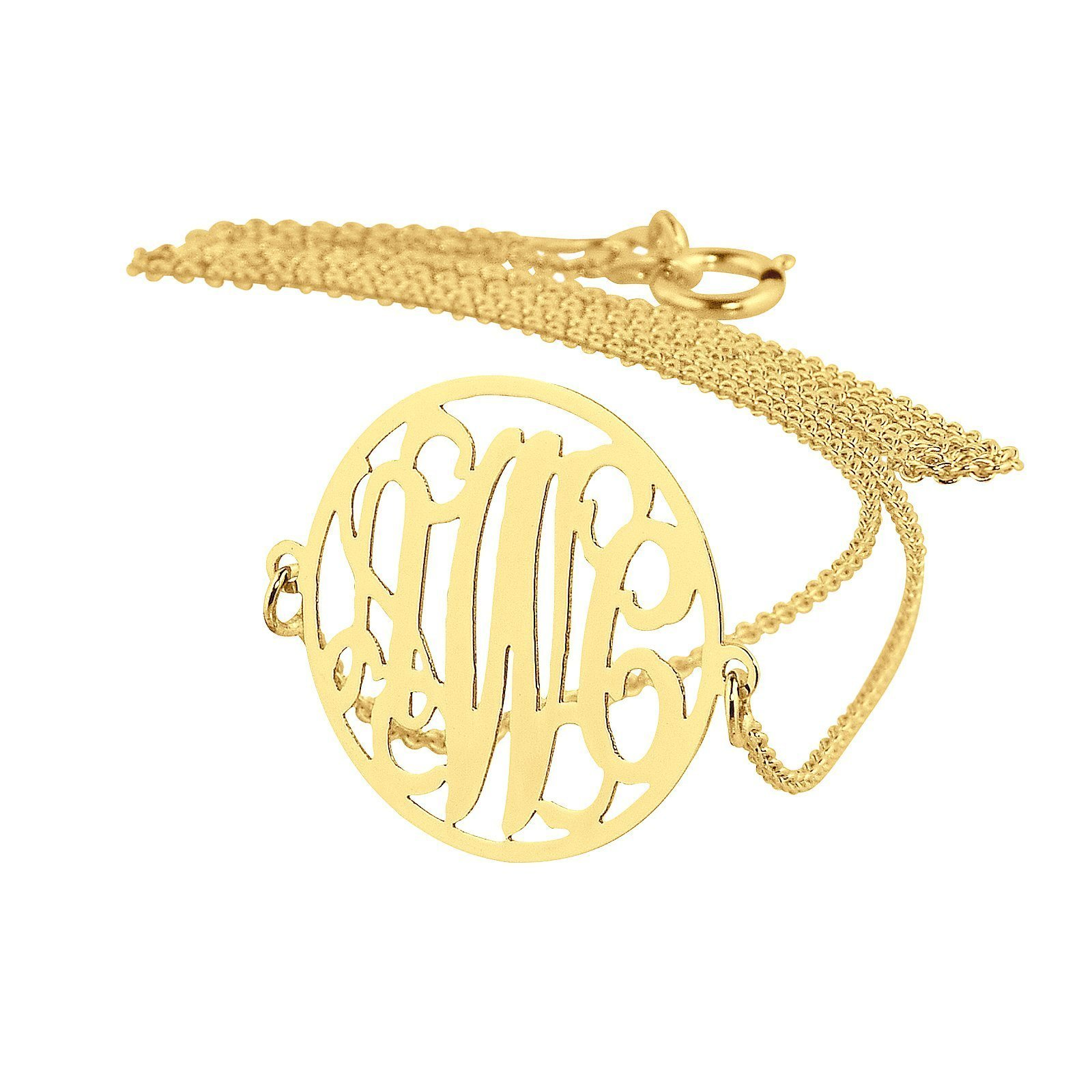 3 Initials Sideway Circle Monogram Necklace 3/4 Inch Solid Gold 10K or 14K Fine Jewelry GM41E