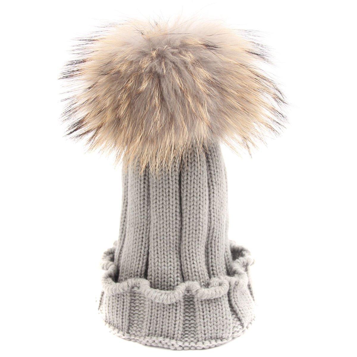 TININNA Inverno Caldo Lavorato a maglia pom pom Cappello Berretto di lana Berretto  da sci Beanie Hat per bambini ragazza ragazzi Beige e95ae60dec5b