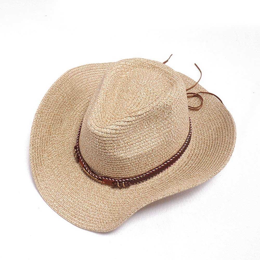 TRDyj Men's and Women's Beach Hat Fashion England Europe and The United States Personality Cowboy Hat Jazz Hat Sunscreen Retro Fringed Straw Hat (Color : Brown)