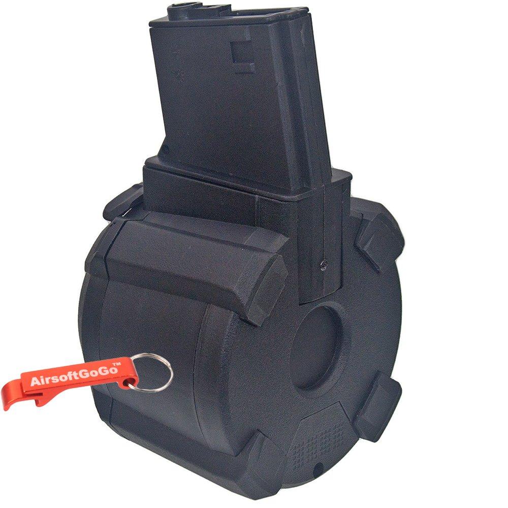 Battleaxe 1000rds Tambor eléctrico Cargador para M4/ M16 Airsoft AEG (Negro) - AirsoftGoGo Llavero Incluido